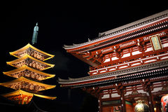 Illuminated Asakusa Temple Royalty Free Stock Image