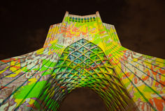 Illuminated Azadi Monument with Colorful Texts and Shapes Stock Photography