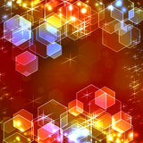 Illuminated background. Abstract illuminated hexagon bokeh background royalty free illustration