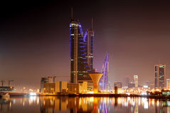 The illuminated Bahrain Financial Harbour BFH Royalty Free Stock Images