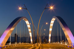 Illuminated Basarab Bridge at twilight Royalty Free Stock Images