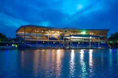 Illuminated Bayside Stadium on blue night background  at Seaworld in International Drive area . Orlando, Florida. April 7, 2019. Illuminated Bayside Stadium on stock photography