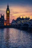 Illuminated Big Ben with sunsetting sky behind, , London, UK royalty free stock image
