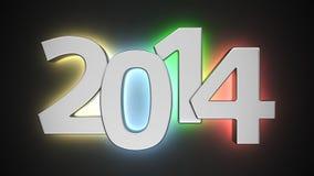 Illuminated 2014. Big luminous in colors digits of new year on black Stock Image