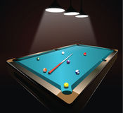 Illuminated billiard table Stock Photo