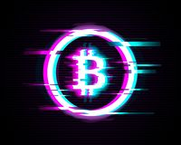 Illuminated Bitcoin symbol with glitch effect on modern background stock illustration