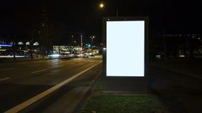 Illuminated blank billboard - copy space stock video footage