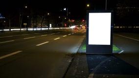 Illuminated blank billboard - copy space stock video