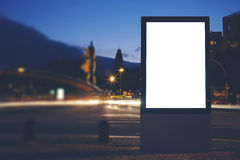 Illuminated blank billboard with copy space for your text message or content Royalty Free Stock Images