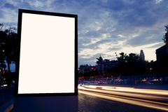 Illuminated blank billboard with copy space for your text message or content Stock Photography
