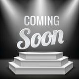 Illuminated blank podium. Coming soon new product promotion on illuminated with stage light blank podium realistic background vector illustration Royalty Free Stock Photography