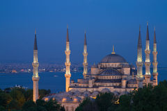 Illuminated Blue Mosque during the blue hour Stock Photos