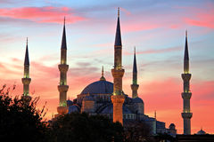 Illuminated Blue Mosque at Sunrise, Istanbul Royalty Free Stock Photo