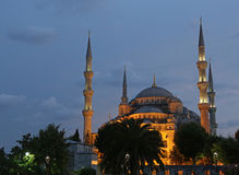 Illuminated Blue Mosque. The Blue Mosque illuminated after sunset.  Located in Istanbul, Turkey.  It was completed in 1616 by Sultan Ahmed I Stock Photos