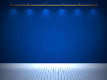 Illuminated blue wall, background. Illuminated blue wall and white floor, background Stock Photo