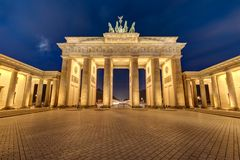 The illuminated Brandenburg Gate at night Stock Image