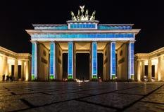 Illuminated Brandenburg Gate Stock Images