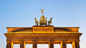 Illuminated Brandenburg Gate quadriga Stock Images