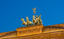 Illuminated Brandenburger Tor top in the evening Royalty Free Stock Photos
