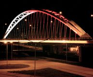 Illuminated bridge. Artistic look in vintage colours like Portra film. Stock Image