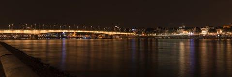 Illuminated bridge of Deutz by night, Cologne Stock Photos
