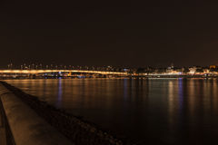 Illuminated bridge of Deutz by night, Cologne Royalty Free Stock Photo