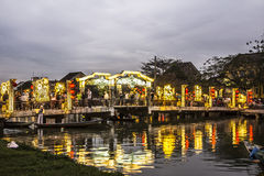 Illuminated bridge in the evening Royalty Free Stock Images