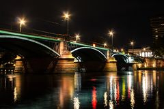 Illuminated bridge in Frankfurt am Main on the night. Germany royalty free stock image