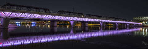 Illuminated Bridge Royalty Free Stock Images