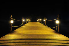 Illuminated Bridge At Night Royalty Free Stock Images
