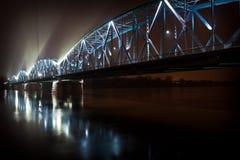 Illuminated bridge at night royalty free stock photo