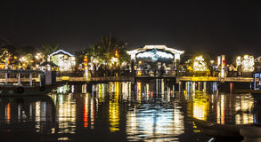 Illuminated bridge at night Royalty Free Stock Photos