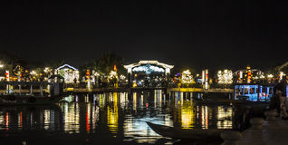 Illuminated bridge at night Royalty Free Stock Photography