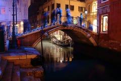 Illuminated bridge at night in Venice. December 27, 2015 royalty free stock photos
