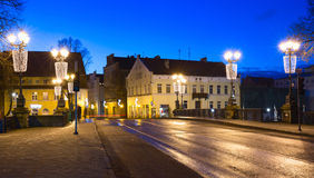 Illuminated bridge in the Old town of Klaipeda city, Lithuania Royalty Free Stock Photos
