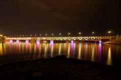 Plock. Illuminated bridge in Plock, Poland Royalty Free Stock Photo