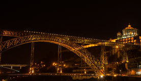 Illuminated bridge in Porto Stock Photo