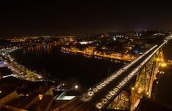 Illuminated bridge in Porto Stock Photography