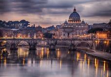 Illuminated bridge in Rome Italy Stock Photography