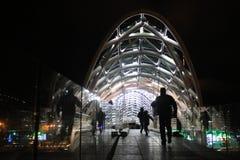 Illuminated bridge in Tbilisi. Royalty Free Stock Images