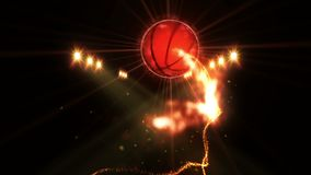Basketball in field under color lighting. Sports team concept. Stadium. Ground. Field. Spotlights at night.