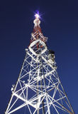 Illuminated broadcast tower. In Lviv at night Royalty Free Stock Photography