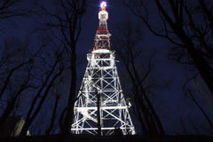 Illuminated broadcast tower in Lviv. At night Royalty Free Stock Photography