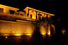 Illuminated building Stock Photo