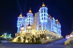 Illuminated building an amusement park in Adler Royalty Free Stock Photos