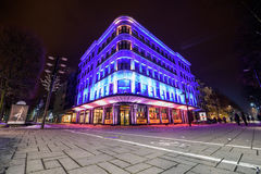 Illuminated building in Kaunas city center Stock Photos