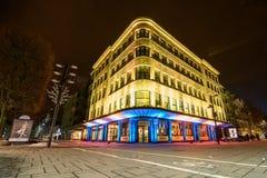 Illuminated building in Kaunas city center Royalty Free Stock Photo