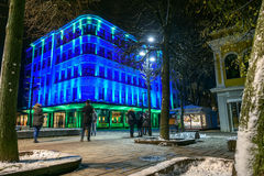 Illuminated building in Kaunas city center Stock Photography