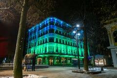 Illuminated building in Kaunas city center Royalty Free Stock Image