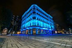 Illuminated building in Kaunas city center Stock Photo